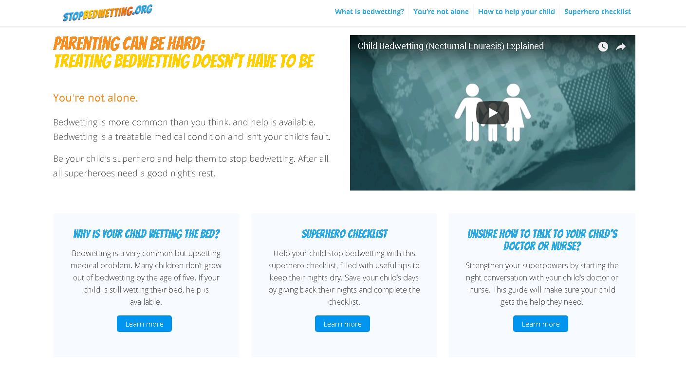 stopbedwetting website screenshot